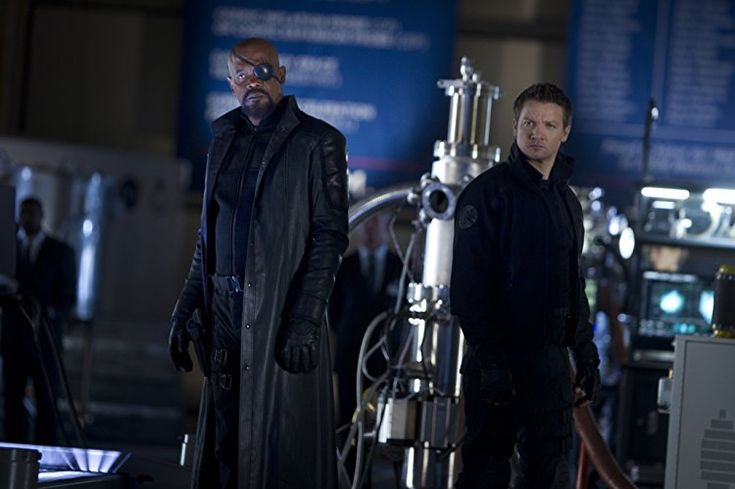 Samuel L. Jackson and Jeremy Renner in The Avengers (2012)