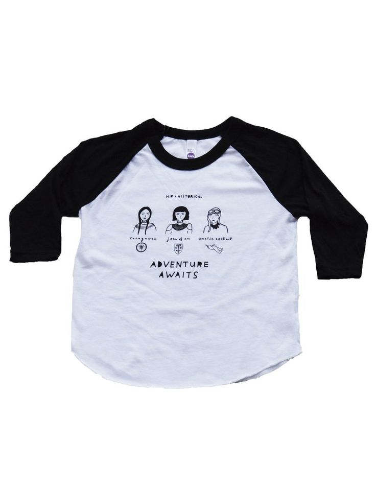 Adventure Awaits White Kids T-Shirt - American Apparel's 3/4 Raglan tee: T-shirt can shrink in the dryer so we recommend ordering one size up Lightweight and loose -fitting (50% Polyester / 50% Cotton) construction. Screen printed using water based ink.