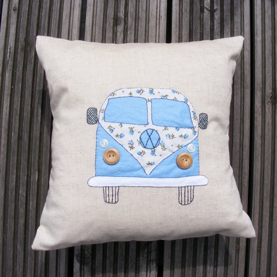 VW campervan pillow/cushion cover pale blue appliqued by Jamcrafts, $45.00