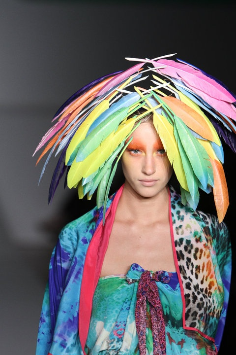 colourful feather headwear