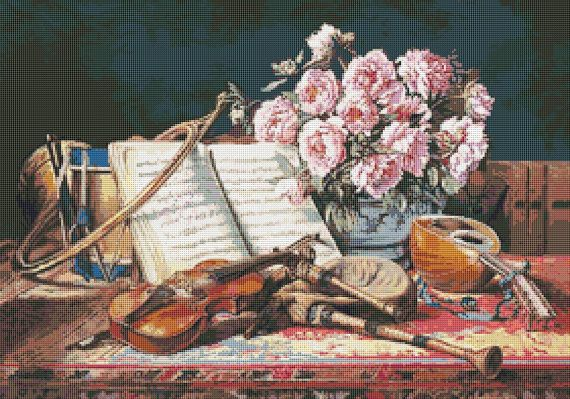 Musical Still Life by Charles Antoine Loyeux - PREMIUM Counted Cross Stitch CHART