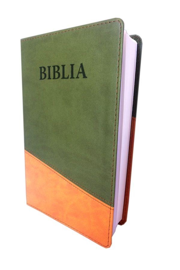 Biblia NTR (Biblia Noua Traducere), coperta imitatie piele, verde oliv - oranj