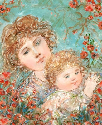 With all my love this Mother's Day and everyday to those voices in my head-Come Visit Strands of Pearls  painting by Edna Hibel