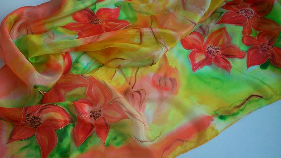 Square Silk Scarf for Ladies. Poinsettias Painted by SilkLetters