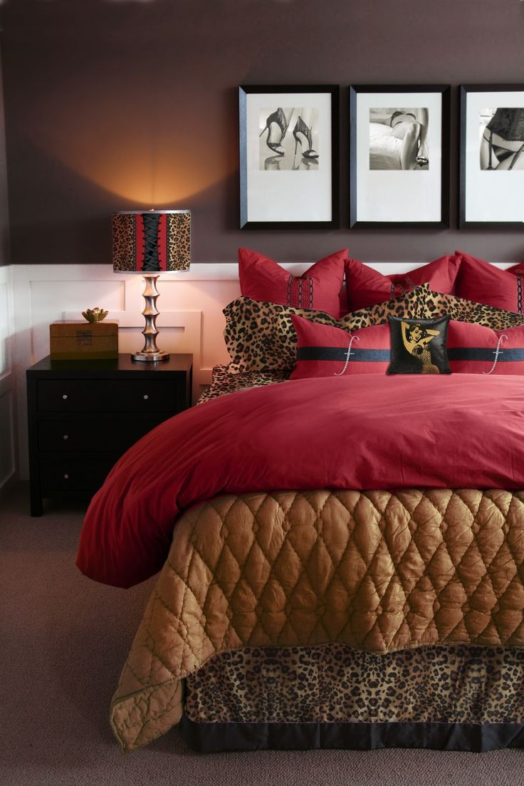 Leopard print and red bedding - Find This Pin And More On For The Home Pictures Above Bed Leopard And Red
