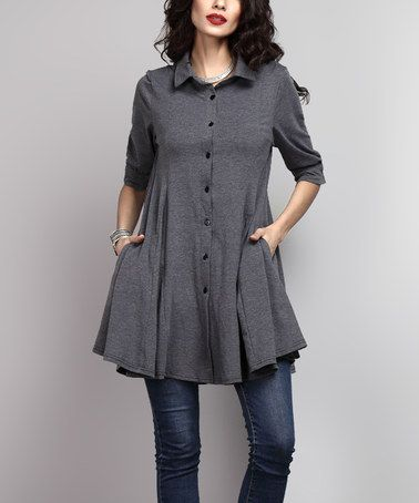 Another great find on #zulily! Charcoal Collared Button-Down Side-Pocket Tunic #zulilyfinds