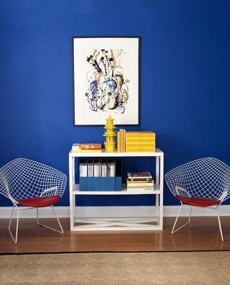 Bold blue makes a cool and confident choice. With crisp white it is a classic nautical combination. The red and yellow accents balance the scheme with warmth and add interest. Photo credit: pinterest.com