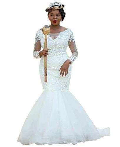 87d2389a0b5 New Andybridal Elegan Plus Size Mermaid Appliques Tulle Long Sleeves Bridal  Wedding Dress online.
