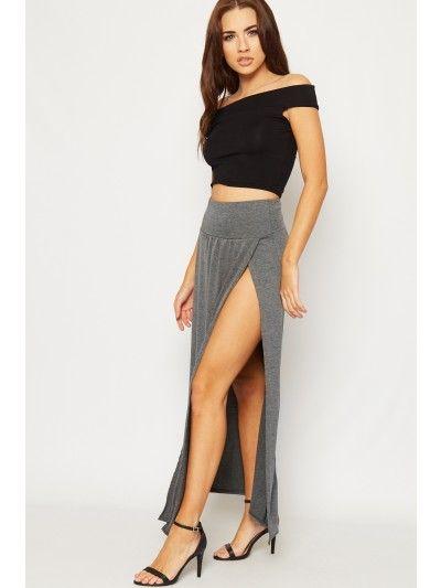 21a763a40d335e Anabelle Thigh High Double Split Maxi Skirt - Dark Grey | Skirts in ...