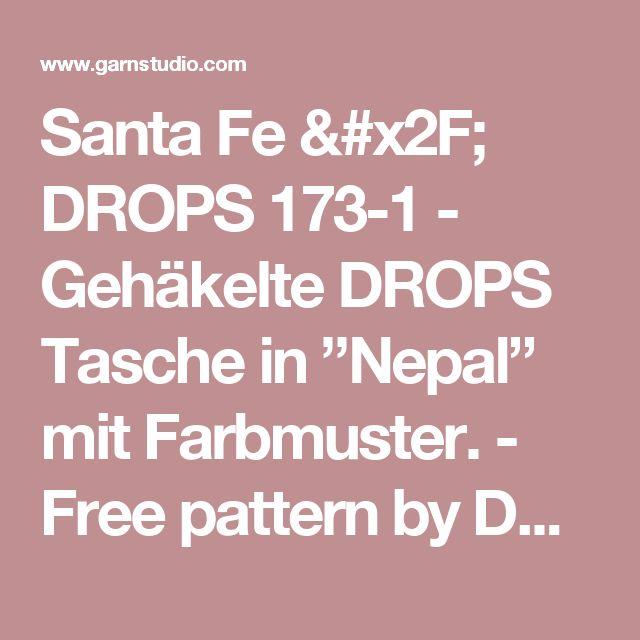 """Santa Fe / DROPS 173-1 - Gehäkelte DROPS Tasche in """"Nepal"""" mit Farbmuster. - Free pattern by DROPS Design"""