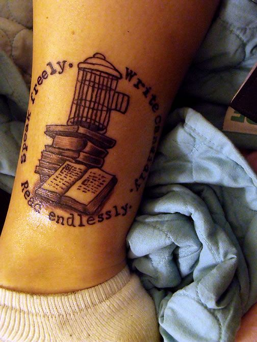 """Previous pinner:  """" 'Speak freely. Write candidly. Read endlessly.'  The birdcage is a pen-and-ink drawing done by Kurt Vonnegut in reference to his book """"Breakfast of Champions,"""" which is also my favorite book. Done by Corey Clark at Evolution Tattoo in Clermont, Indiana. This was my first tattoo and I wanted something to reflect my love of reading.""""Reading Endless, Quotes Tattoo, First Tattoo, Girls Tattoo, Writing Candid, Evolution Tattoo, Literary Tattoo, Kurt Vonnegut, Speak Freely"""