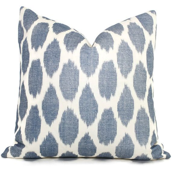 navy blue adras ikat quadrille china seas pillow cover square or lumbar pillow throw pillow toss pillow - Blue Decorative Pillows
