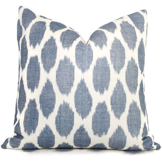 navy blue adras ikat quadrille china seas pillow cover square or lumbar pillow throw pillow toss pillow - Blue Decorative Pillows