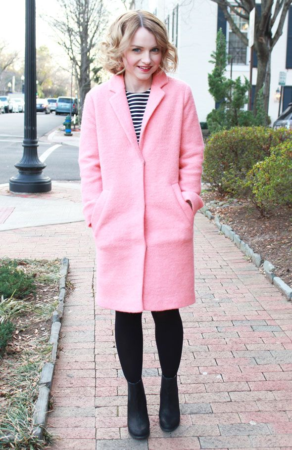 Poor Little It Girl - Gap Navy & White Striped Dress, Topshop Pink Wool Coat and Sole Society Black Booties