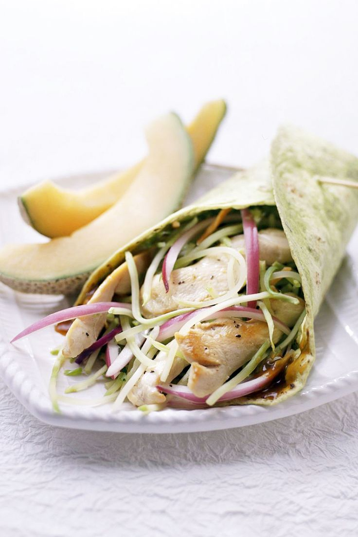 In fewer than 30 minutes, combine chicken, broccoli slaw mix, and peanut sauce to make this delicious wrap.