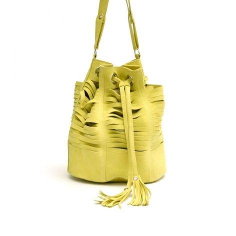 Lime Suede Bucket Bag