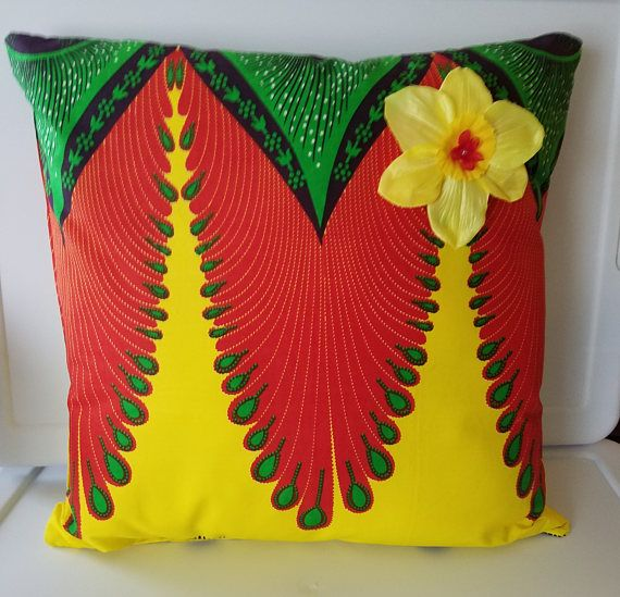 16 x 16 Ankara fabric pillow-yellow african theme pillow-tropical pillow-ankara patio pillow-ankara accent pillow-island theme pillow