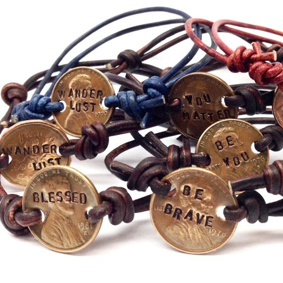 Hand-Stamped Copper Penny Bracelet by BlueMustacheShop on Etsy