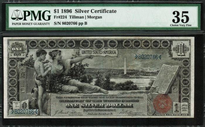 NEW! 1896 $1 Silver Certificate FR-224 – Educational Note – PMG 35 – Choice Very Fine https://www.paper-money-collector.com/product/1896-1-silver-certificate-fr-224-educational-note-pmg-35-choice-very-fine/ #Money