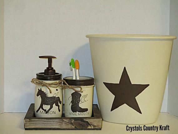 Western Bathroom Set Horse Soap Jar Boot Toothbrush Jar Western Star Trash Can Texan Bathroom Set Western Decor Horse Decor Western Bathroom Sets Western Bathrooms Western Bathroom Decor