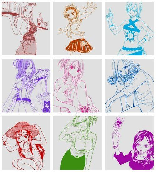 Fairy tail ! Mira, Levy, Lisanna, Erza, Lucy, Juvia, Wendy, Evergreen and Cana.