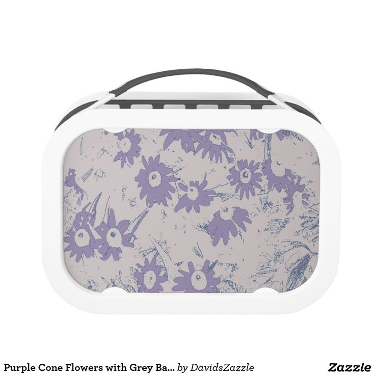 Purple Cone Flowers with Grey Background Lunch Box  Available on more products, type in the name of this design in the search bar on my products page to view them all!  #cone #daisy #shasta #calendula #floral #flower #purple #grey #blue #pattern #print #all #over #abstract #plant #nature #earth #life #style #lifestyle #chic #modern #contemporary #home #decor #kitchen #dining