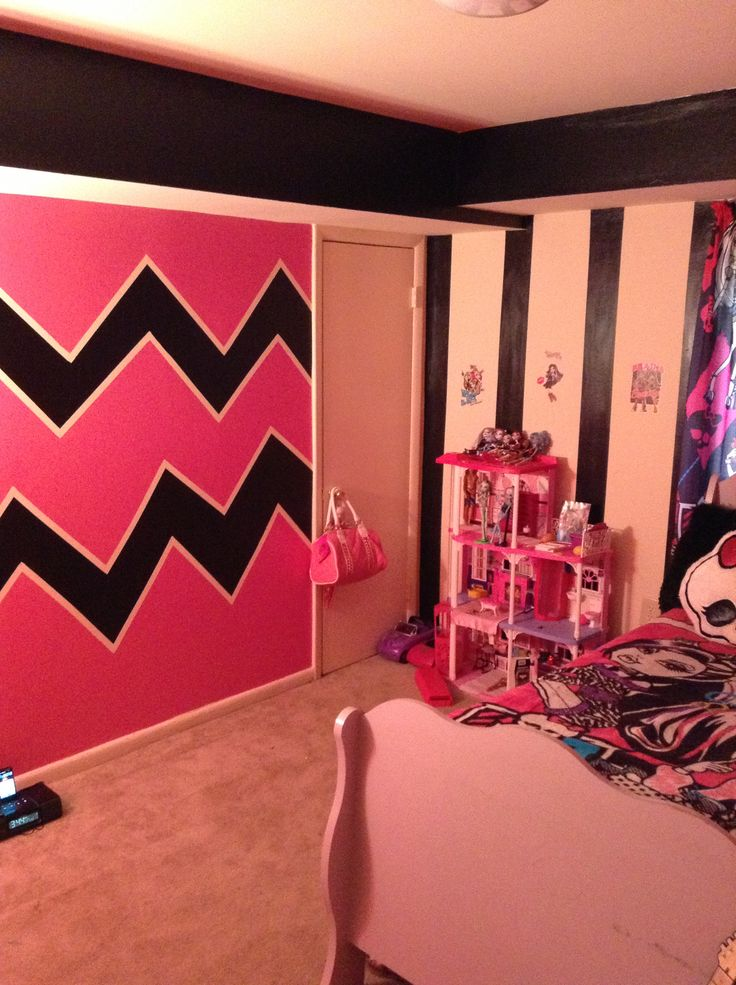 Monster high themed bedroom zigzags and stripes done by me for my 5 year olds monster high - How we paint your room ...