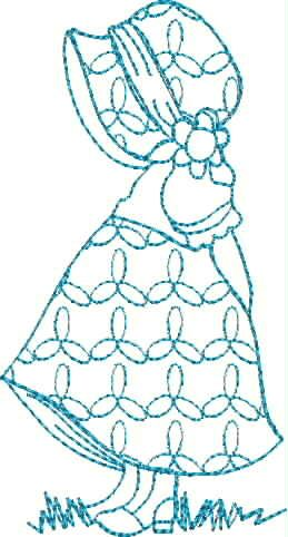 Blue Line Sun Bonnet 1 : Free Embroidery|Stitch n Mouse|Free Digitizing, Free embroidery source