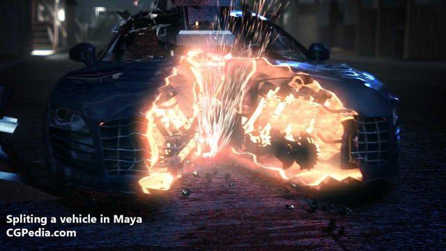 Splitting a vehicle in Maya video tutorial for scene files go to cgpedia.com