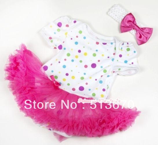 Белый радуга точек детские комбинезон ярко розовый юбка с белым повязка на голову ярко розовый атласный бант MAJS115