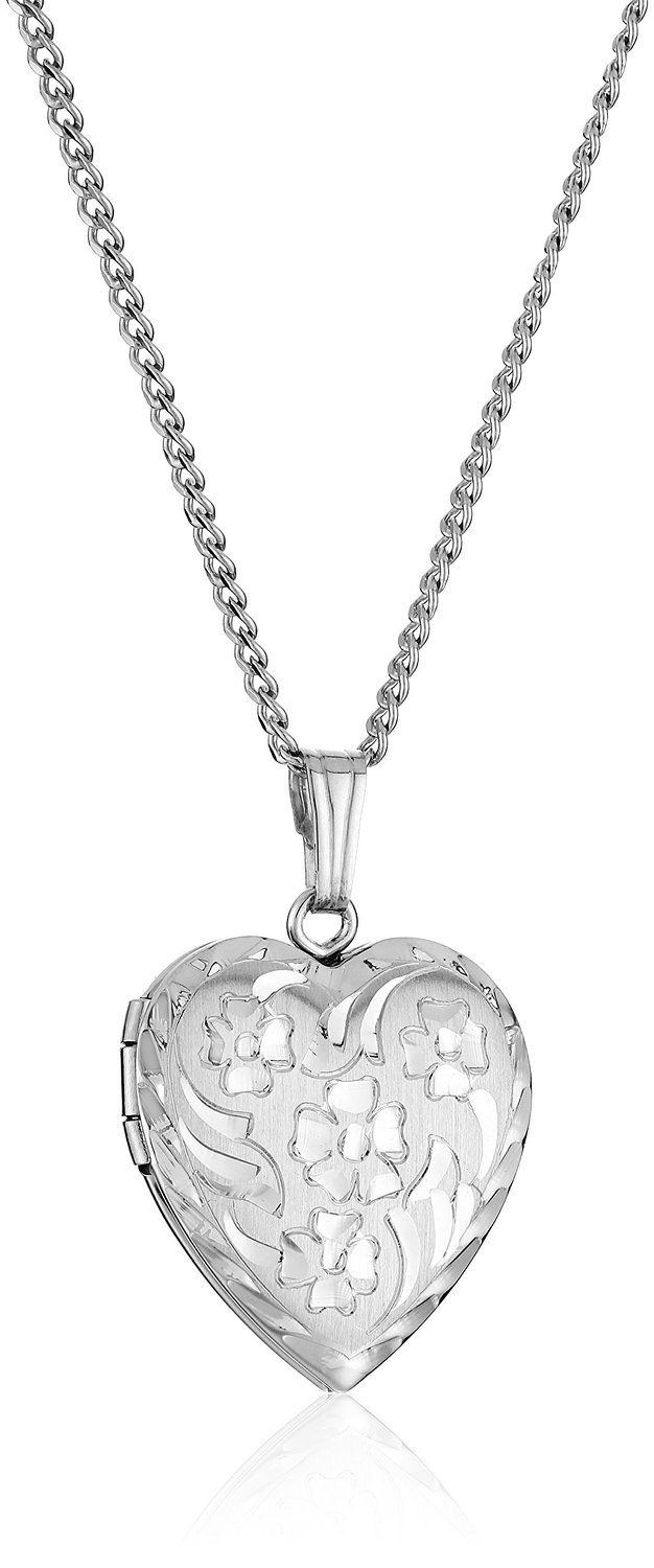 Sterling Silver Engraved Flowers Heart Locket Necklace, 18' * More info could be found at the image url.