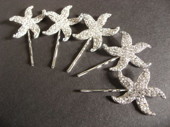 Sparkle Starfish Bridal Wedding Bridesmaids Swarovski Rhinestone Crystals Hair Bobby Clips Pins x 2