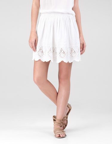 Skirt with embroidered flower detail