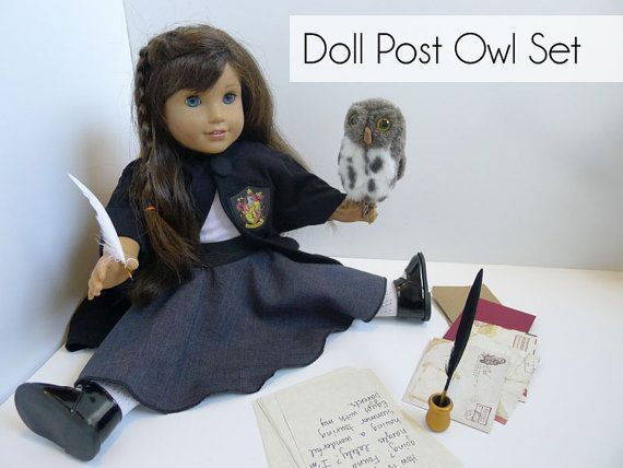 Doll Post Owl and Stationary Set  Wizard Witch by PiecesByPolly
