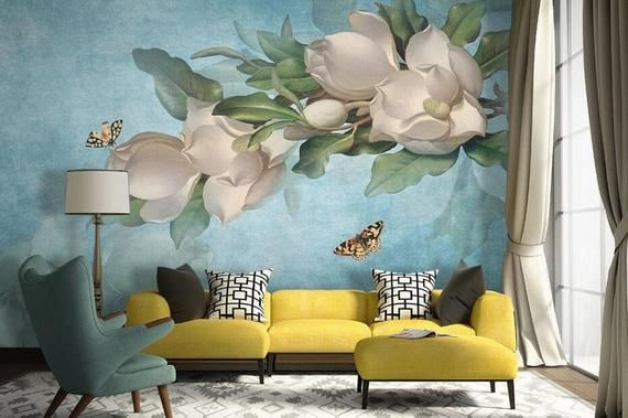 3d White Camellia Gngn289 Wallpaper Mural Decal Mural Photo Etsy Living Room Decor Yellow Walls Yellow Decor Living Room Wall Murals