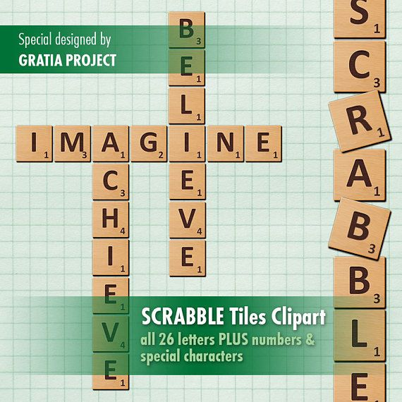 Scrabble Tiles - Wooden Letters Clip Art Download & Printable; PNG files for card design, craft making, scrapbook, graphic design, party supplies, invitation, party tags, cupcake toppers, decorations and many other. Direct download, ready to use.