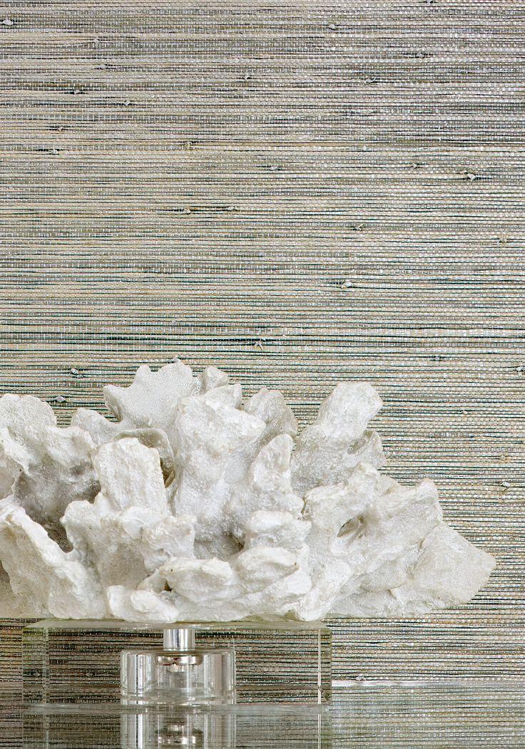 Gulf Shore grasscloth wallpaper in aqua