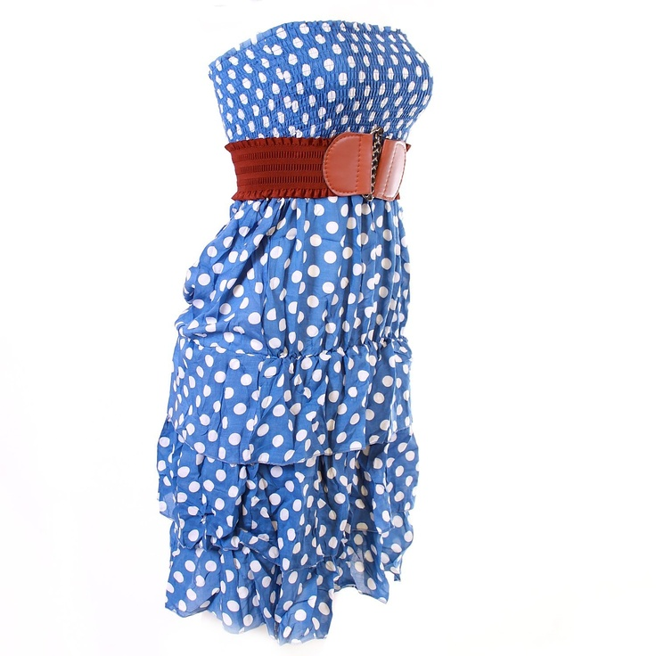 Monkeying About Ladies Bandeau Strapless Polka Dot Summer Dress - Blue - White £11.95