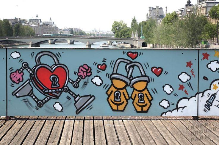 pont des arts - jace street art paris itinerrance