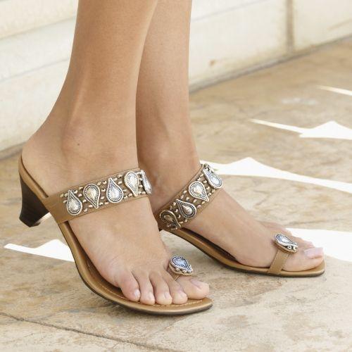 tan and metallic sandals