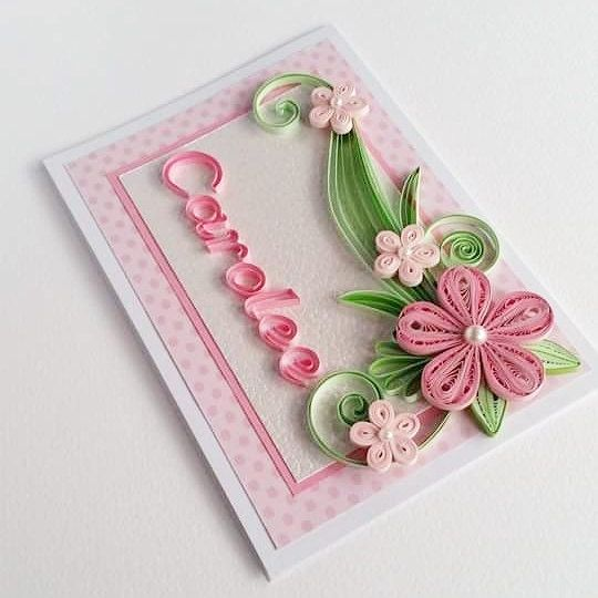 Handmade Christening card - Personalized Name Card - Quilling Card with Name - Girl Birthday Card - Baby Shower Card - Happy Birthday Card