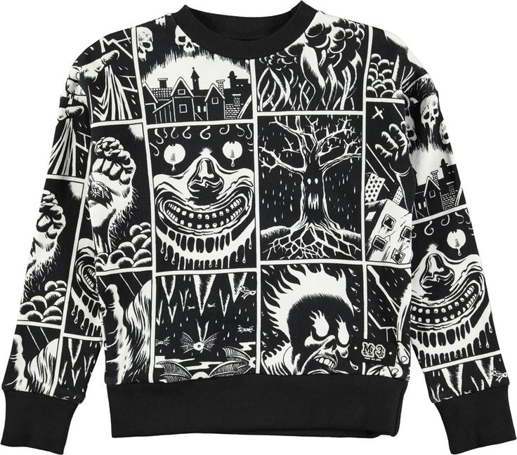 Milton - Horror Cartoon - long sleeve black sweatshirt with cartoon print