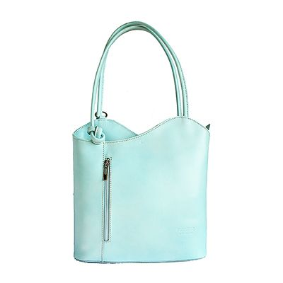 Multi-Way Mint Blue Leather Shoulder Bag/Backpack - £49.99