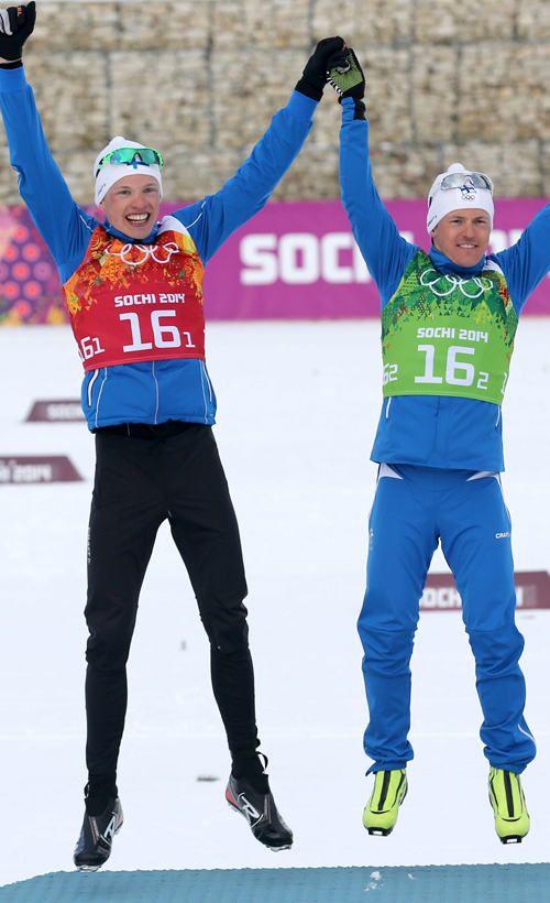 Kultaa! - Gold! - Iivo Niskanen & Sami Jauhojärvi from Finland, gold medal in Sochi Winter Olympics 2014