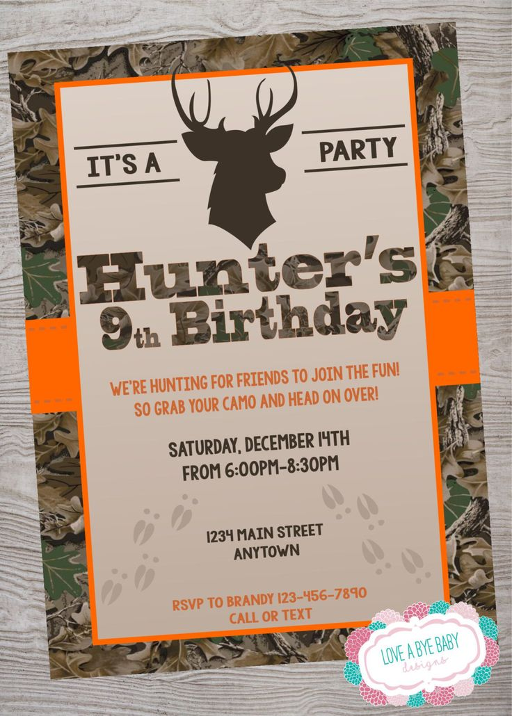 Hunting / Deer/ Camo  birthday baby shower party invitation printable digital file by LoveAByeBabyDesigns on Etsy
