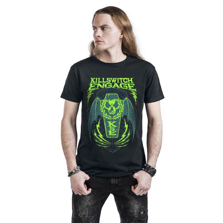 """Classica T-Shirt uomo nera """"Coffin Wings"""" dei #KillswitchEngage."""