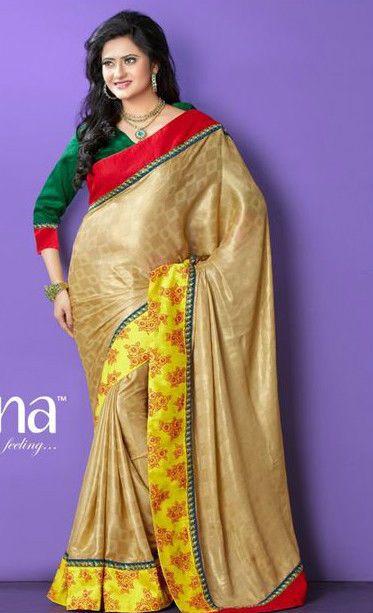Gold Jacquard Stylish Embroidery Saree/Partywear/Designerwear #TS3049