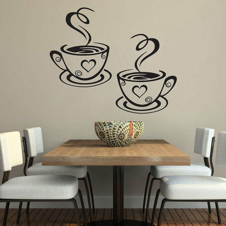 Wall Sticker Tea Coffee Cups Home Decal Cafe Dining Room $1.69
