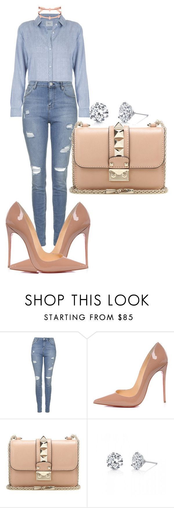 """Untitled #502"" by rhiannonkennedy ❤ liked on Polyvore featuring Topshop, Christian Louboutin, Valentino and Harry Kotlar"