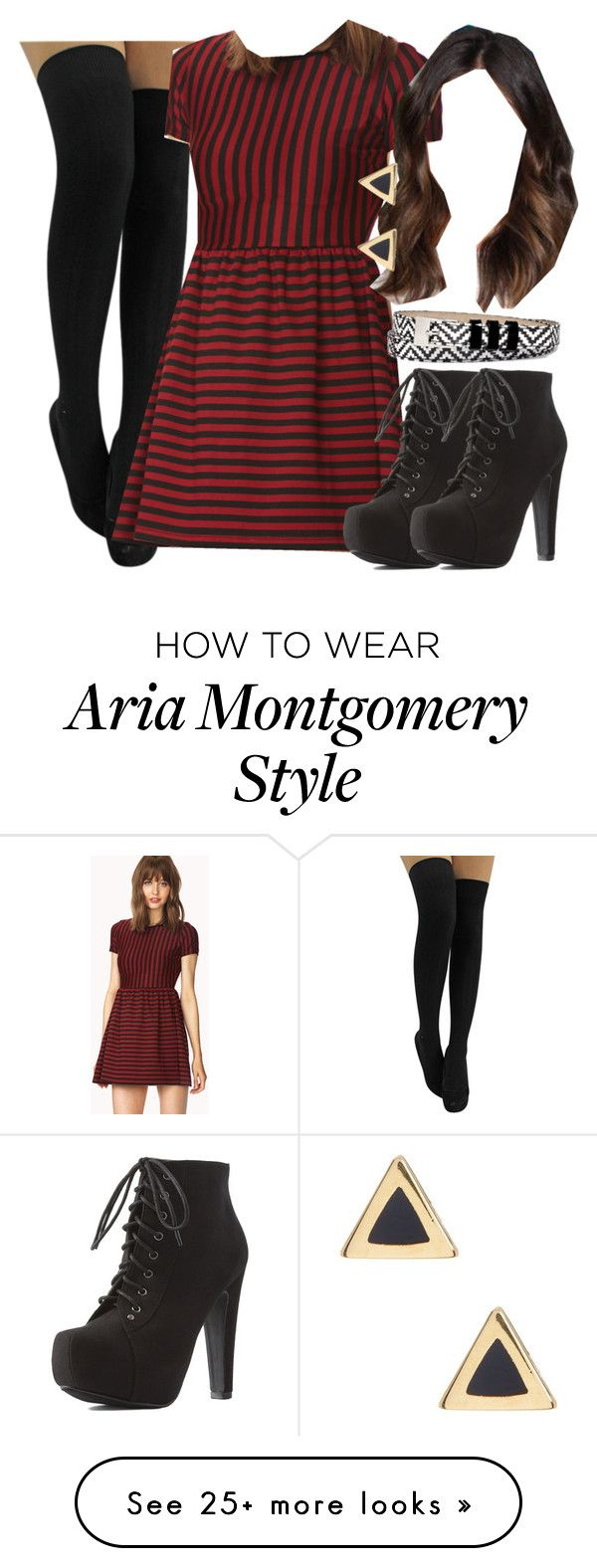 """Aria Montgomery inspired outfit with black over-the-knee socks"" by liarsstyle on Polyvore featuring Forever 21, Charlotte Russe, Liz Claiborne, Ariella Collection, party, Semi and mid"